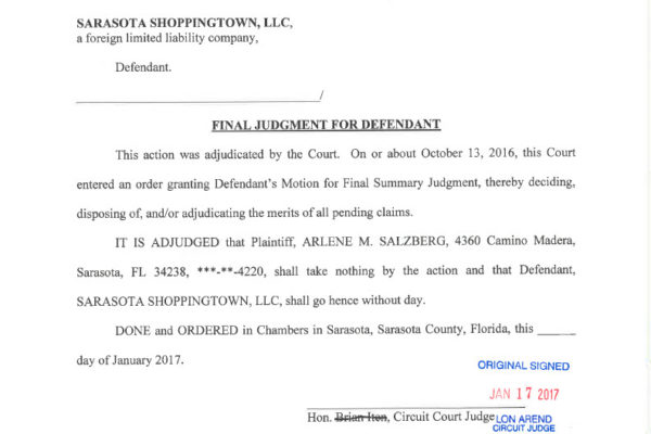Salzberg vs Sarasota Shoppingtown-Final Judgment for Defendant1024_1
