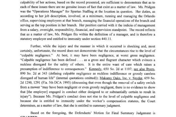 Toucet vs Spartan Staffing LLC - Order on Defendents1024_2